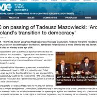 WJC on passing of Tadeusz Mazowiecki