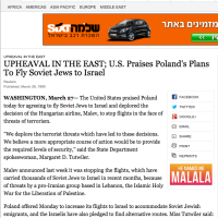 New York Times: U.S. Praises Poland's Plans To Fly Soviet Jews to Israel