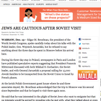 New York Times: JEWS ARE CAUTIOUS AFTER SOVIET VISIT