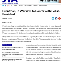 JTA: Bronfman, in Warsaw, to Confer with Polish President